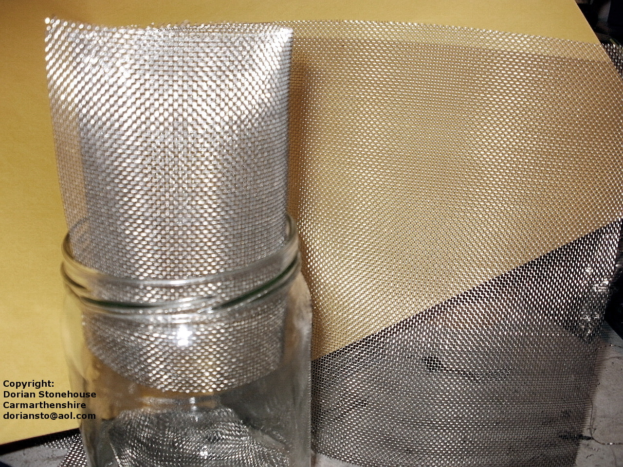 20 mesh is rolled into a jar for sizing up