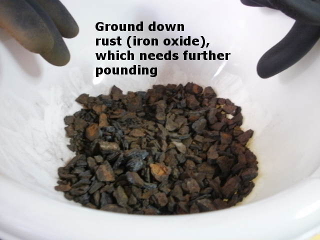 Brown rust granules are prepared to be ground to powder