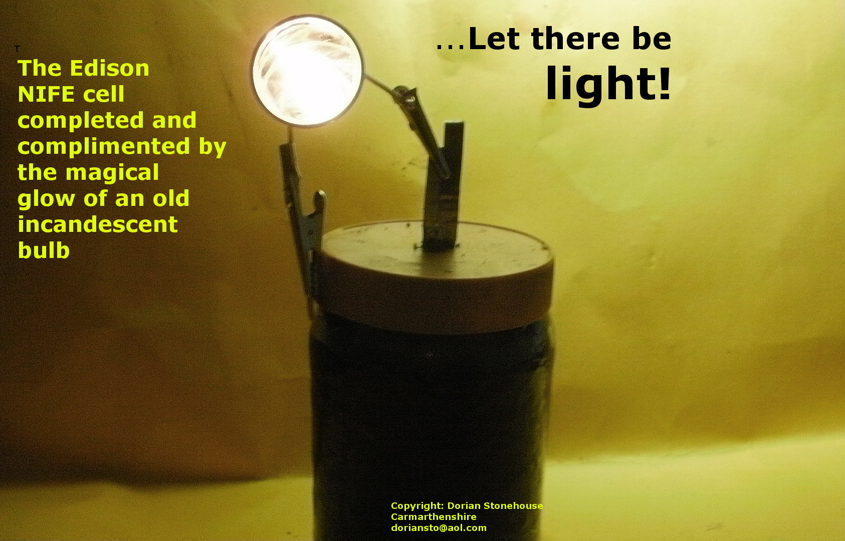 Success: A glowing Edison cell:
