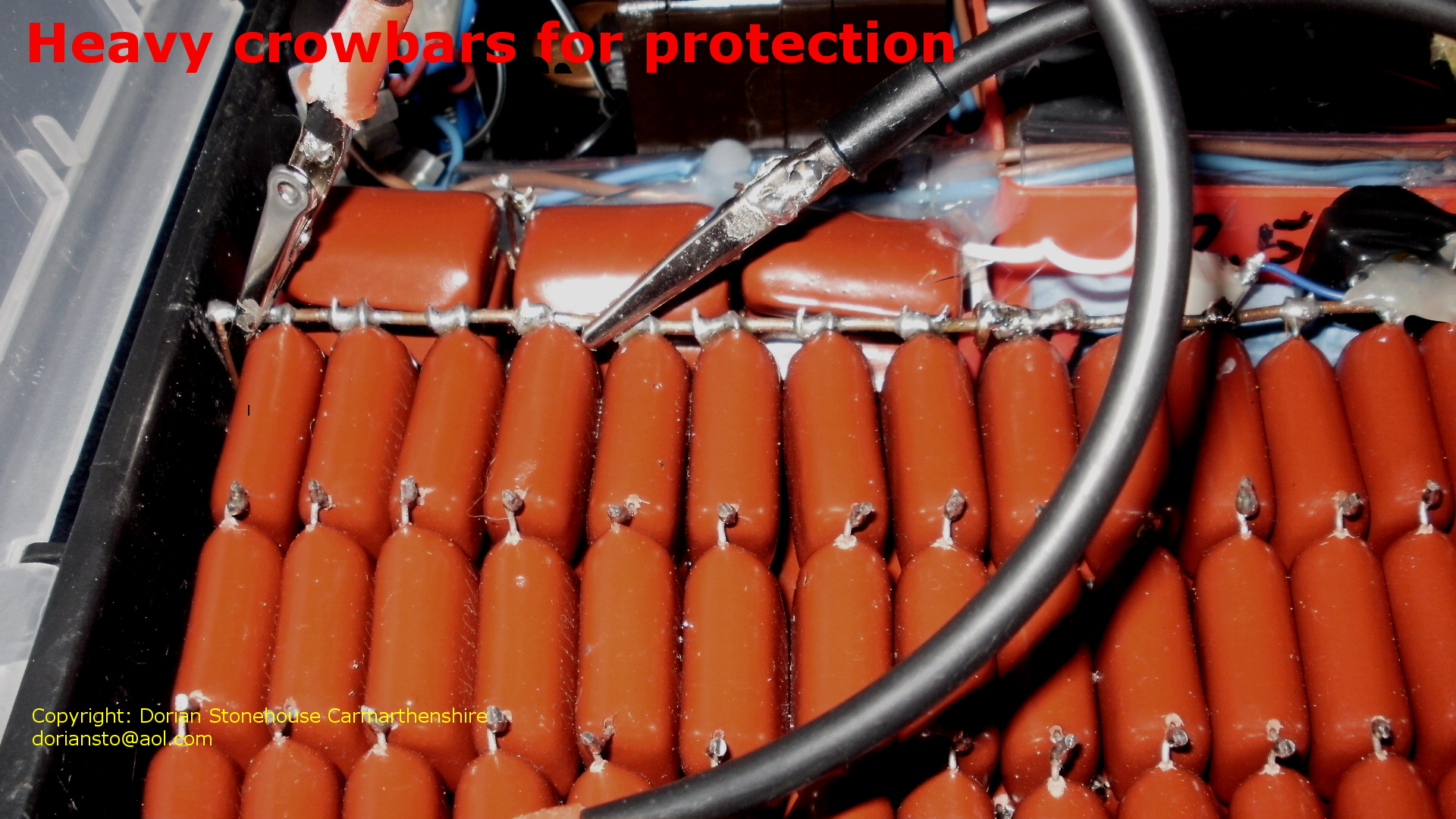 crowbar protection cable across capacitors