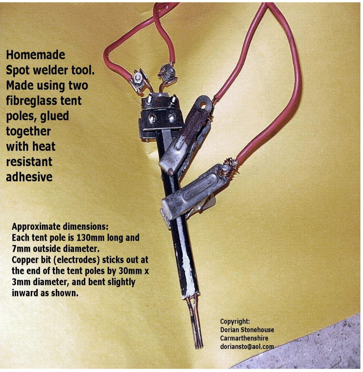 spot welder made out of pair of tent poles