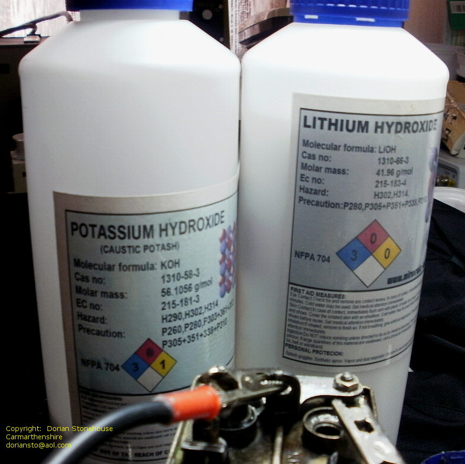 A word of caution: KOH and Lithium hydroxide, give off dangerous fumes.