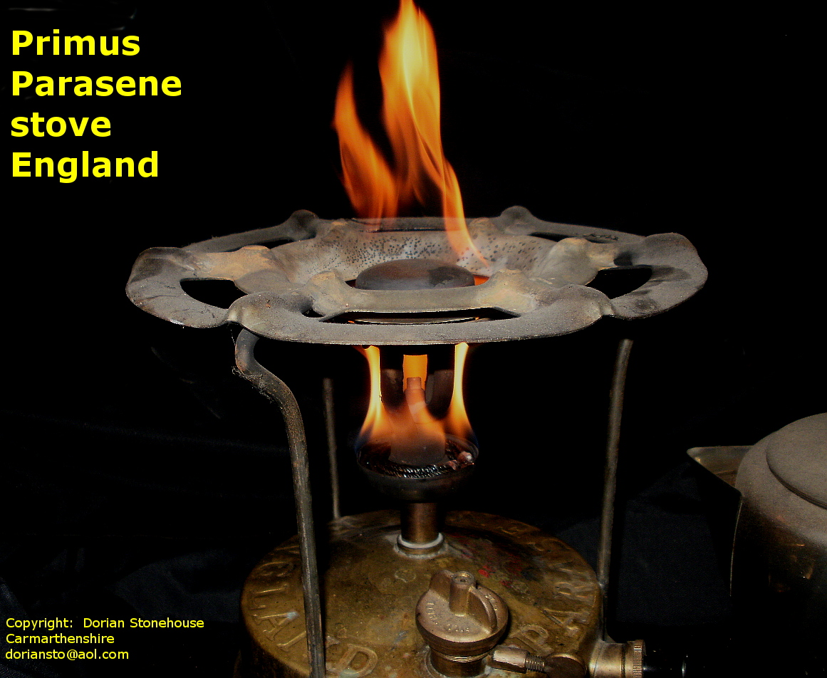 The Primus Parasene stove with flames