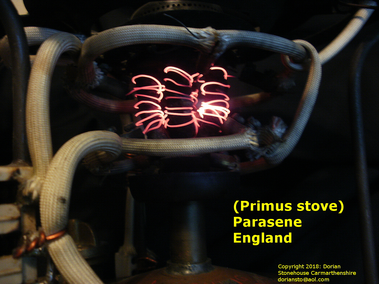 The Primus (Parasene) stove, with heating element fully alight