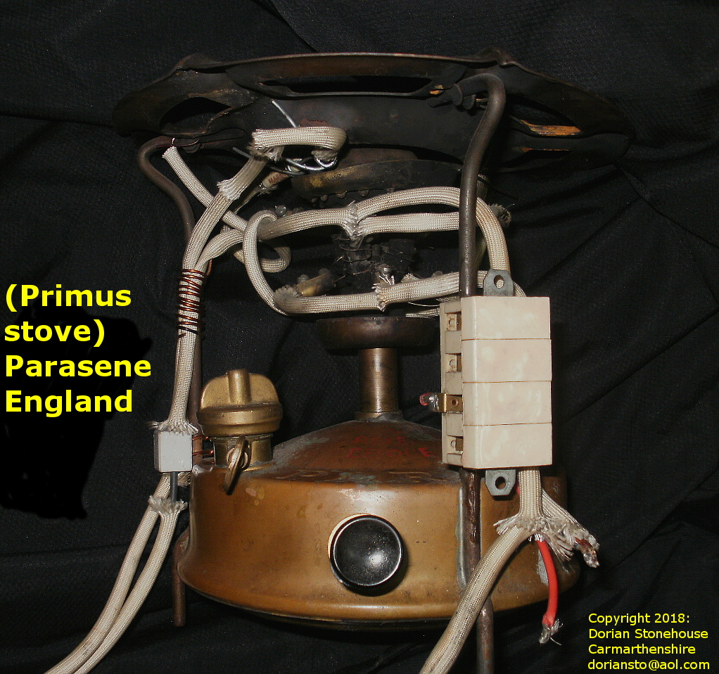 The Primus (Parasene) stove, showing wiring of element